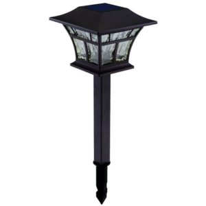 hampton bay solar mediterranean bronze outdoor integrated led landscape path light with hammered glass lens
