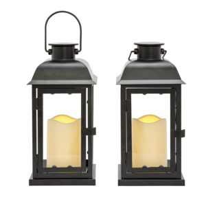 outdoor black solar candle lantern