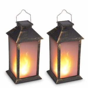 vintage solar powered candle lantern