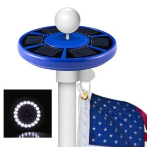 led solar flagpole light blue